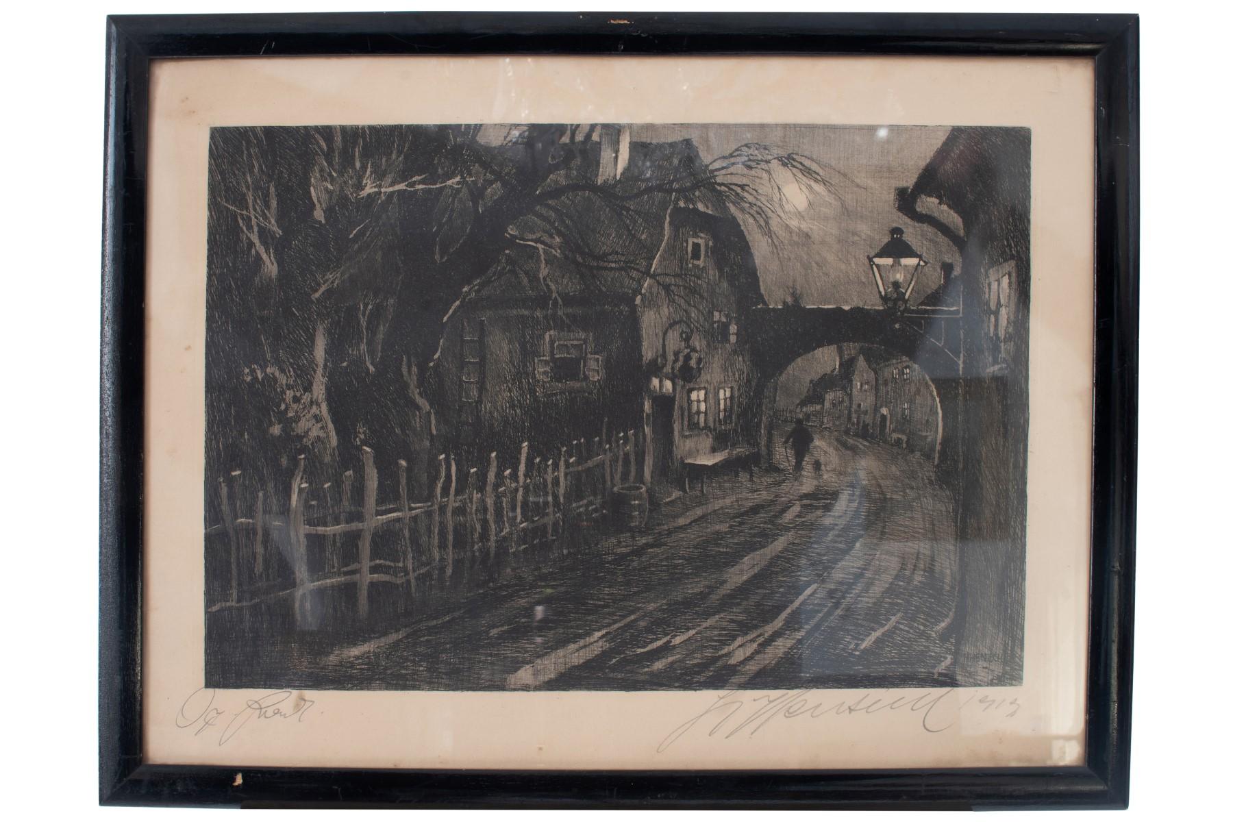 #41 Hugo Henschl (1879-1929), Village street with inn   Hugo Henschel (1879-1929), Dorfstraße mit Wirtshaus Image