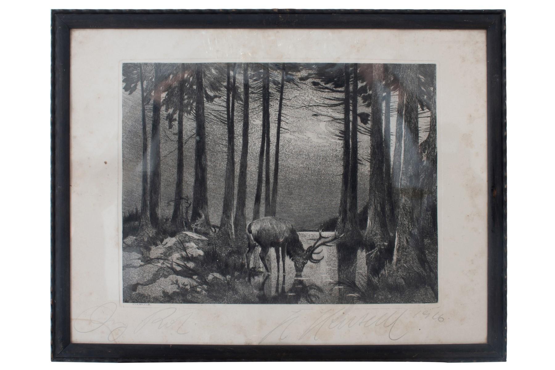 #42 Hugo Henschl (1879-1929) , Deer in the moonlight at the lake | Hugo Henschel (1879-1929) , Hirsch im Mondlicht am See Image