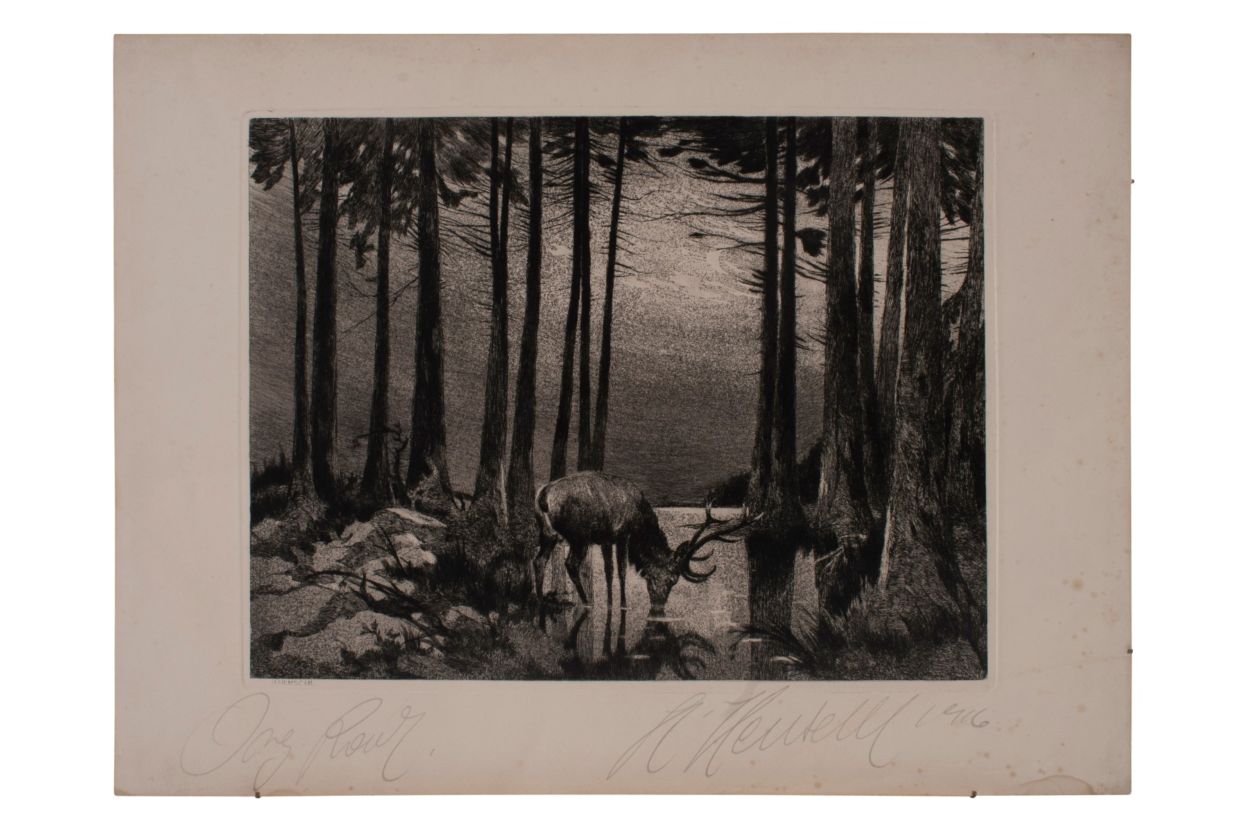 #43 Hugo Henschl (1879-1929), Deer in the moonlight at the lake | Hugo Henschel (1879-1929), Hirsch im Mondlicht am See Image