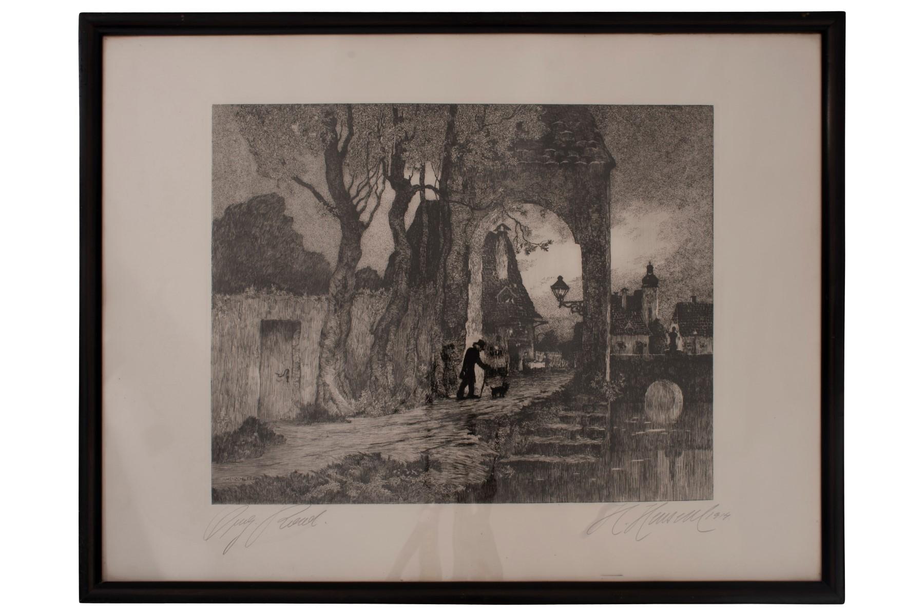 #47 Hugo Henschl (1879-1929) , Walk with Dog   Hugo Henschel (1879-1929), Spaziergang mit Hund Image
