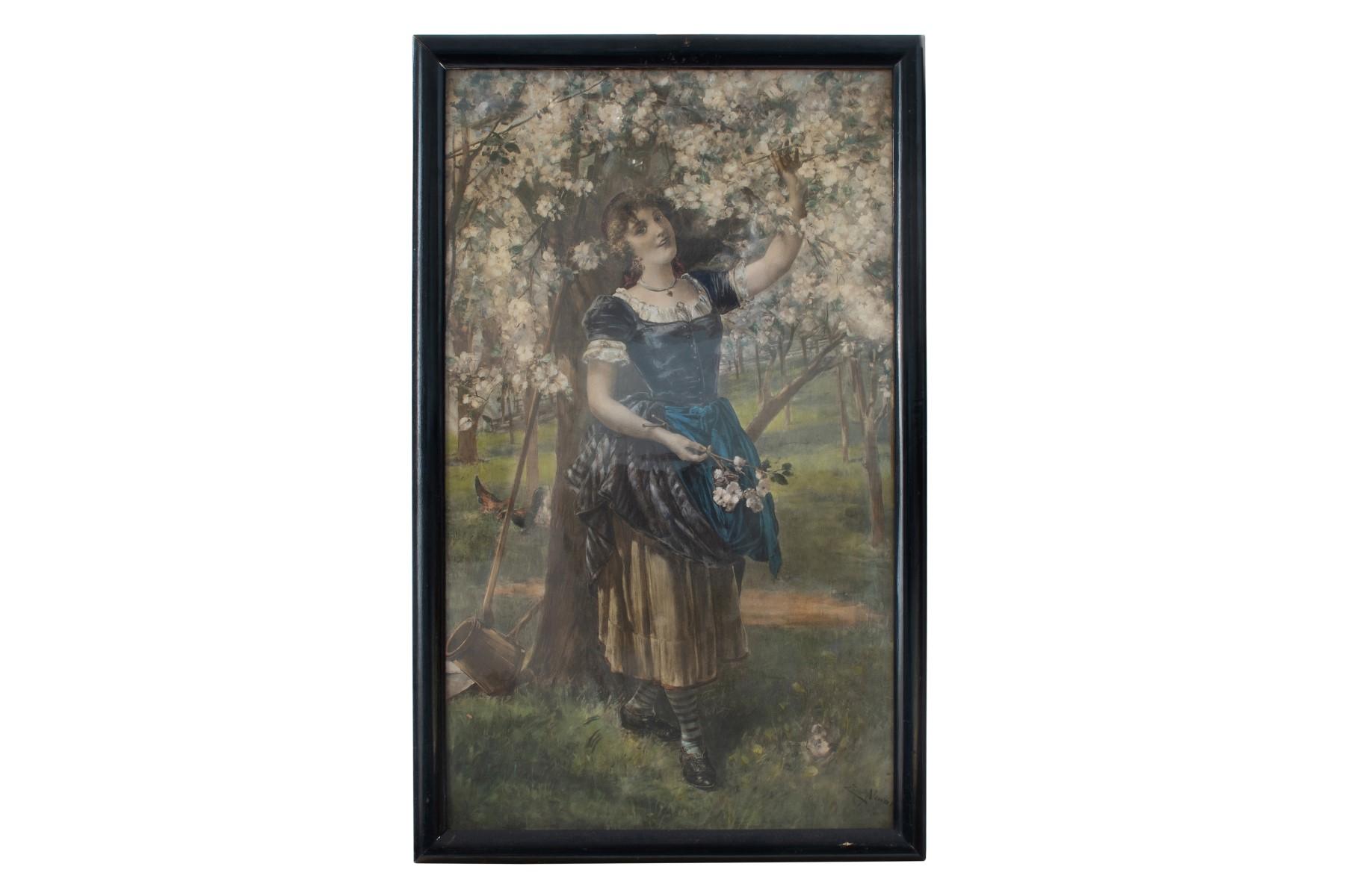 #55 Artist of the 20th Century, Young maid on a meadow under flowering tree   Künstler des 20. Jahrhundert, Junge Magd auf einer Wiese unter blühenden Baum Image