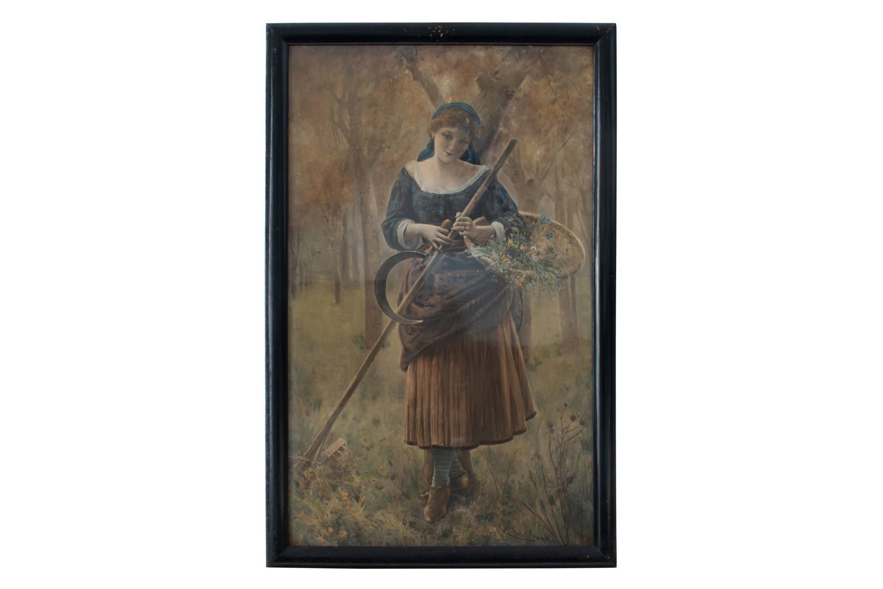 #56 Artist of the 20th Century, Young maid on a meadow under flowering tree   Künstler des 20. Jahrhunderts, Junge Magd auf einer Wiese mit Blumenkorb Image