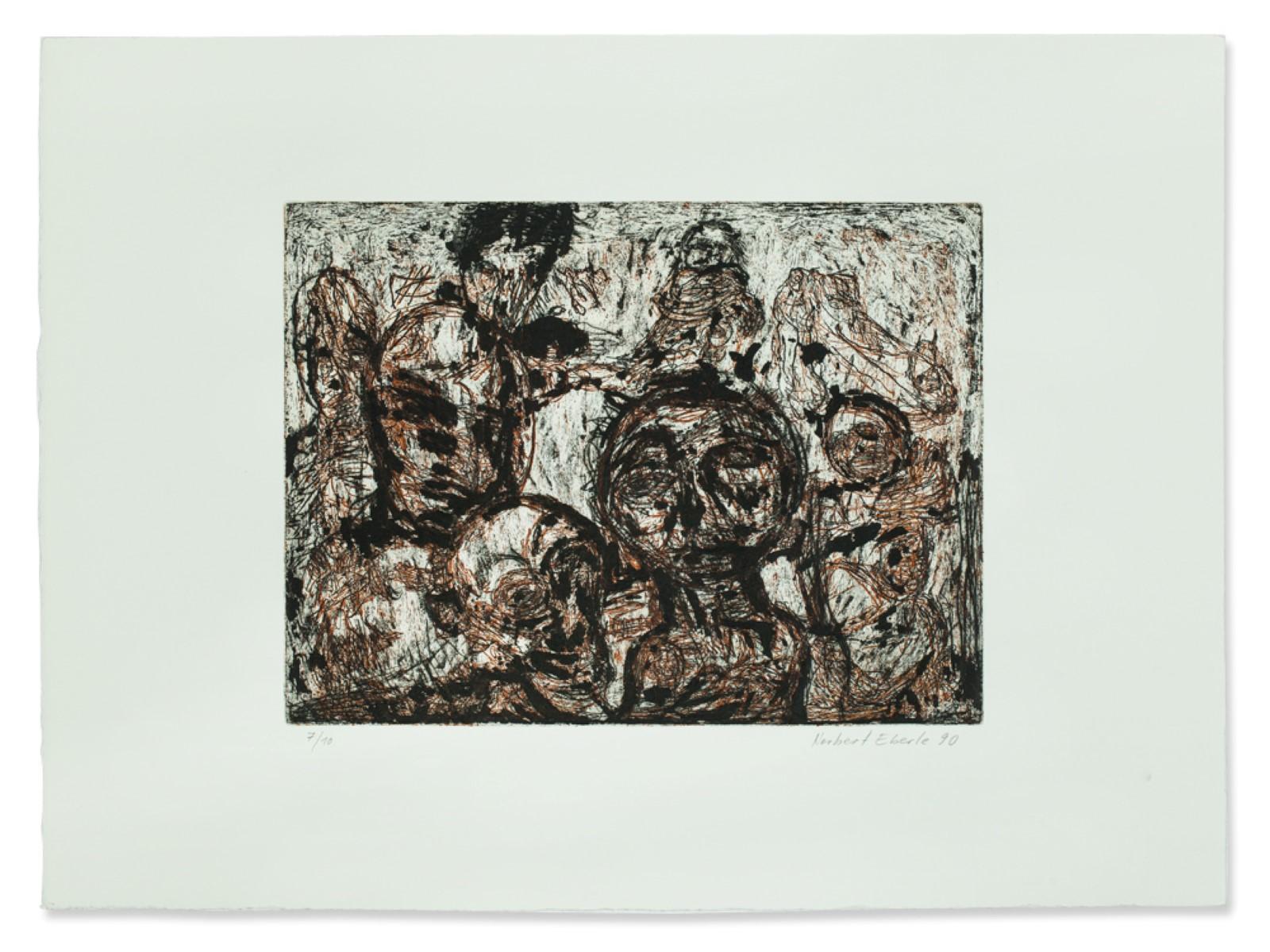 #87 Norbert Eberle (1954) color etching, heads, 1990   Norbert Eberle (1954), Köpfe 1990 Image